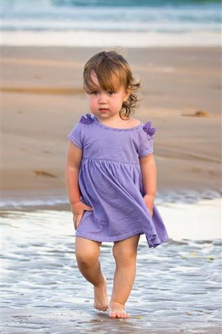 iPhone Wallpaper Cute little girl, beach, sea