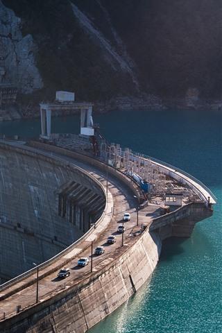 iPhone Wallpaper Dam, cars, river