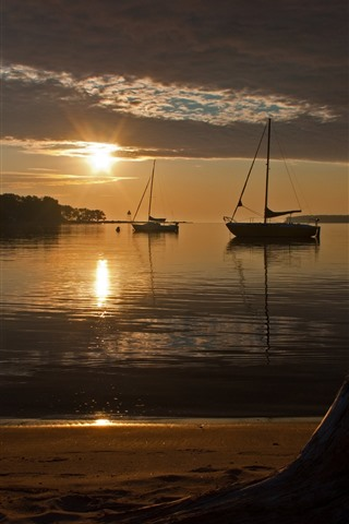 iPhone Wallpaper Dusk, sunset, beach, sea, boats
