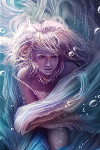 iPhone Wallpaper Fantasy girl, underwater, pink hair, bubbles