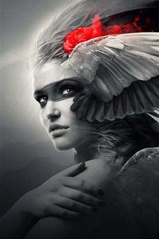 iPhone Wallpaper Fantasy girl, wings, angel