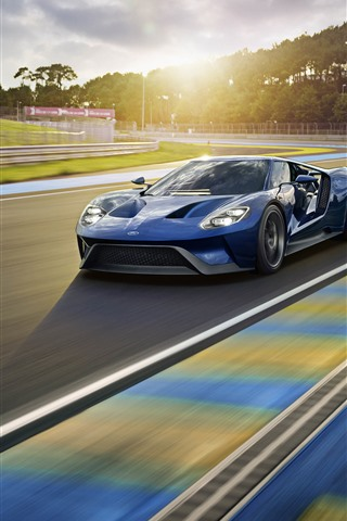 iPhone Wallpaper Ford blue sport car, speed, road