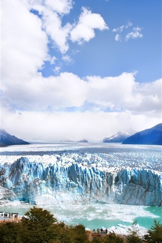 iPhone Wallpaper Glacier, iceberg, mountains, clouds