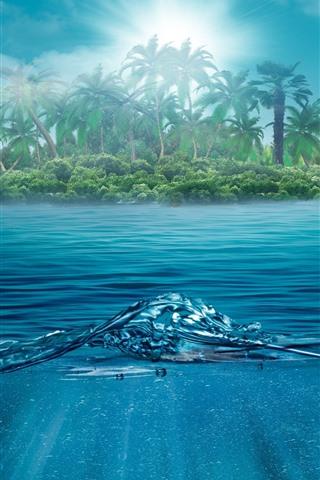 iPhone Wallpaper Island, palm trees, sea, sunshine, creative design