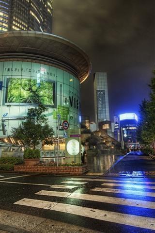 iPhone Wallpaper Japan, city, night, road, street, after rain, lights