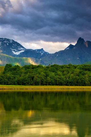 iPhone Wallpaper Lake, water reflection, mountains, clouds, beautiful nature landscape