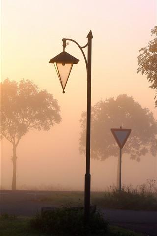 iPhone Wallpaper Lamp, road, trees, fog, dawn