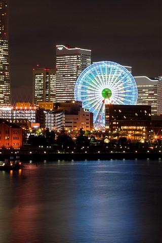 iPhone Wallpaper Night, city, river, ferris wheel, buildings, lights, Japan