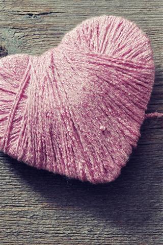 iPhone Wallpaper Pink thread love heart