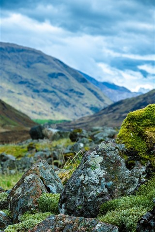 iPhone Wallpaper Rocks, moss, green, mountains, clouds, hazy
