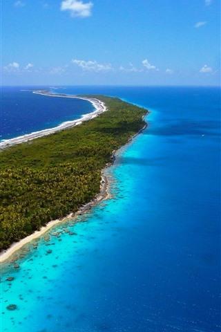 iPhone Wallpaper Sea, blue, azure, island, tropical, beach