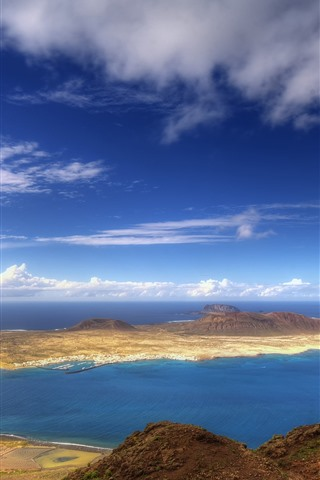 iPhone Wallpaper Sea, island, clouds, nature scenery