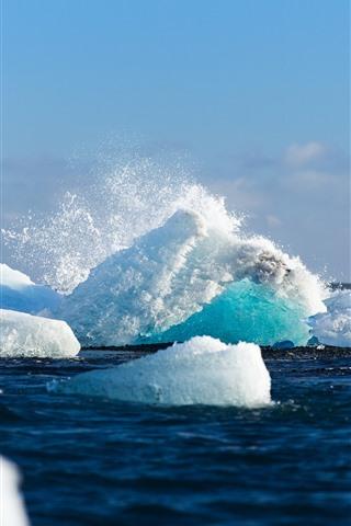 iPhone Wallpaper Sea, snow, ice, iceberg, splash