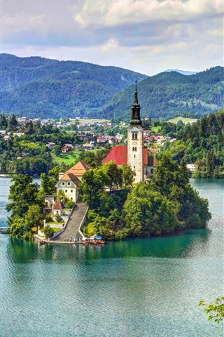 iPhone Wallpaper Slovenia, lake, island, church, mountains, clouds