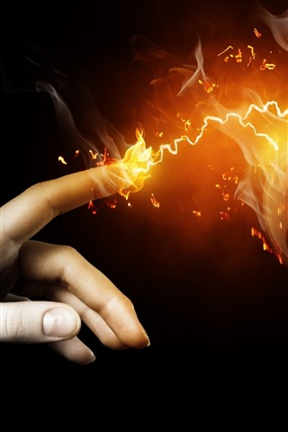 iPhone Wallpaper Touch, finger, lamp, fire, creative picture