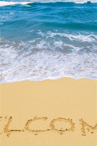 iPhone Wallpaper Welcome, beach, sea, sands