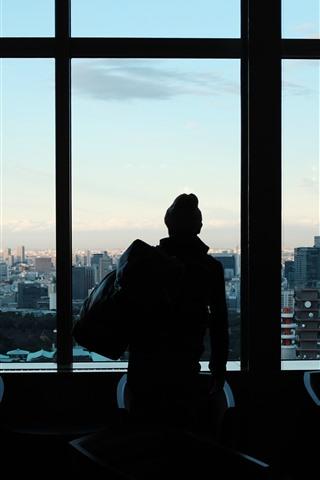 iPhone Wallpaper Window, man, silhouette, city