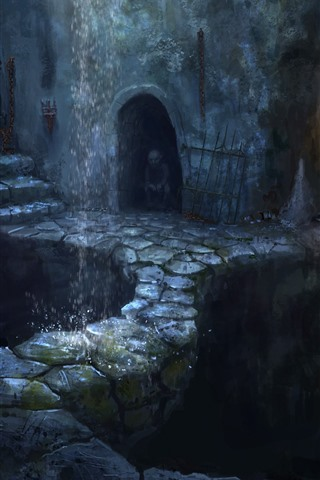 iPhone Wallpaper Art picture, fantasy, cave, waterfall, darkness