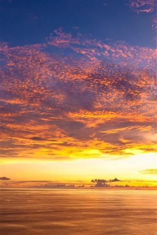 iPhone Wallpaper Beautiful sunset, sea, sky, clouds, coast
