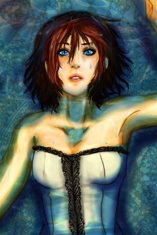 iPhone Papéis de Parede Bioshock infinito, menina de olhos azuis, rosa, imagens de arte