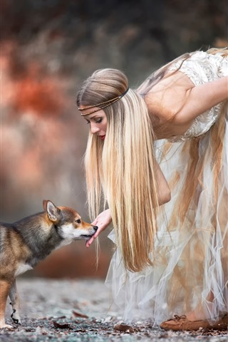 iPhone Wallpaper Blonde girl and dog, skirt