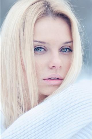 iPhone Wallpaper Blonde girl, white sweater, winter, snow
