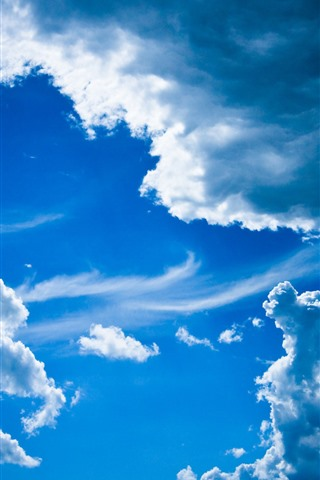 iPhone Wallpaper Blue sky, white clouds, nature scenery