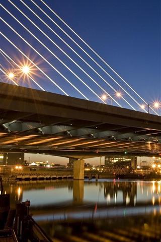 iPhone Wallpaper Boston, bridge, lights, river, night, city, USA