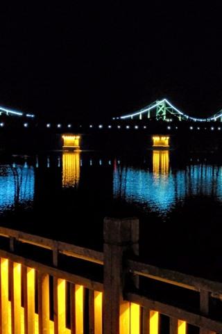 iPhone Wallpaper Bridge, river, lights, illumination, night, darkness