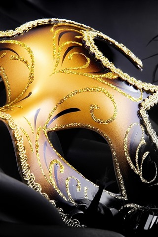 iPhone Wallpaper Carnival, golden mask, feather
