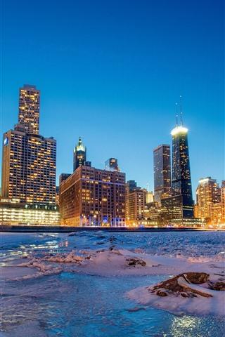 iPhone Wallpaper Chicago, snow, sea, coast, skyscrapers, lights, night, USA