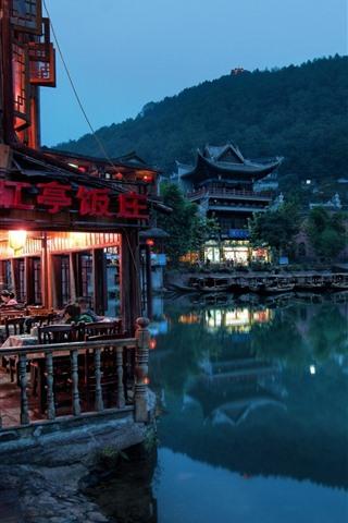 iPhone Wallpaper China, park, lake, tower, restaurant, lights, night