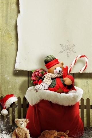 iPhone Papéis de Parede Natal, ursinho de pelúcia, presente, neve, cerca, imagem criativa