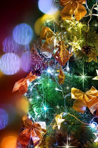 iPhone Papéis de Parede Árvore de Natal, luzes coloridas, brilho