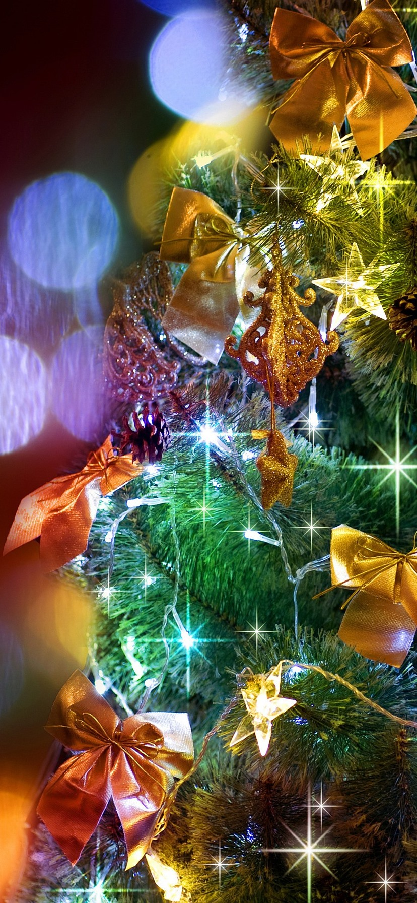 Christmas Tree Colorful Lights Shine 828x1792 Iphone 11 Xr Wallpaper Background Picture Image