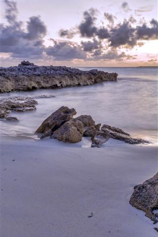 iPhone Wallpaper Coast, sea, rocks, beach, clouds, dusk