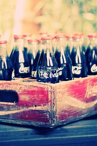 iPhone Wallpaper Coca-Cola, bottles, drinks, box