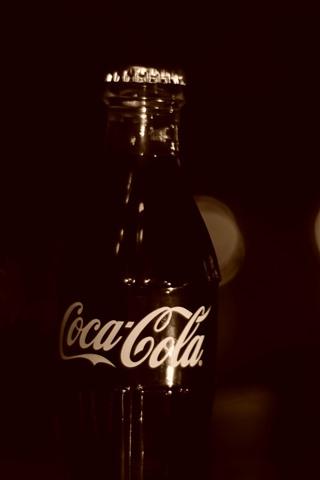 iPhone Wallpaper Coca-Cola, drinks, bottle, darkness