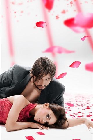 iPhone Wallpaper Couple, lovers, rose petals, romantic