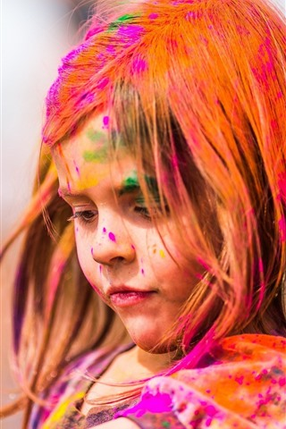 iPhone Wallpaper Cute little girl, colorful paint, face, hair