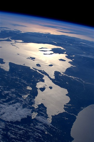 iPhone Wallpaper Earth, top view, space, land, sea