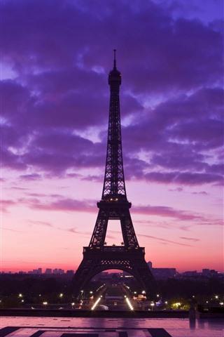 iPhone Wallpaper Eiffel Tower, purple sky, clouds, night, city, France