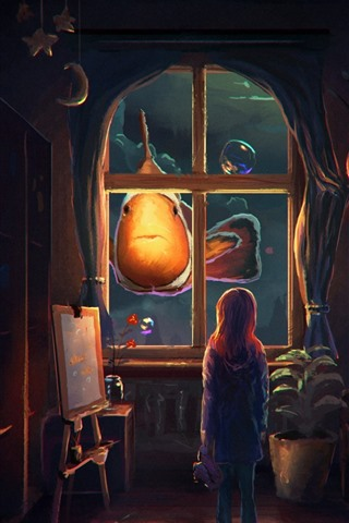 iPhone Wallpaper Fantasy, art painting, clownfish, girl, bubbles, house, town