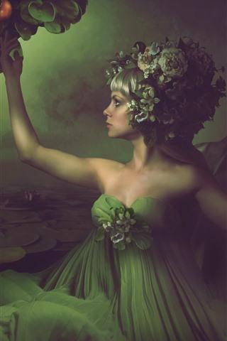 iPhone Wallpaper Fantasy girl, green skirt, water lily, pond, snake