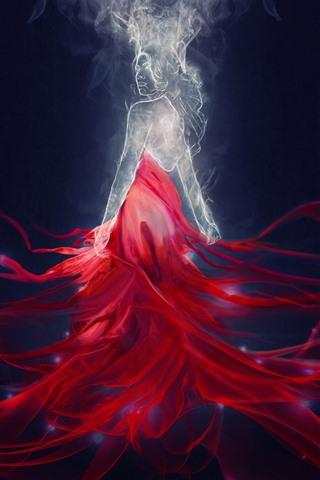 iPhone Wallpaper Fantasy girl, red skirt, magic, art picture