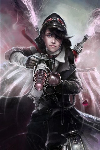 iPhone Wallpaper Fantasy girl, weapon, monster