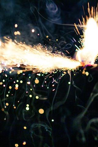 iPhone Papéis de Parede Fogos de artifício, faíscas, brilho