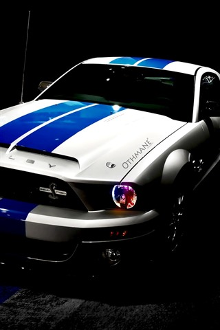 iPhone Wallpaper Ford Shelby Mustang car, night, headlight