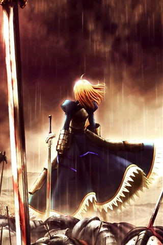 iPhone Wallpaper Girl in war, rain, sword, blood