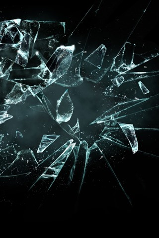 iPhone Wallpaper Glass broken, black background